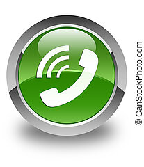 Phone ringing icon glossy soft green round button