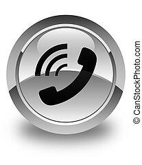 Phone ringing icon glossy white round button