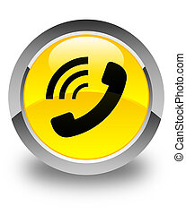 Phone ringing icon glossy yellow round button