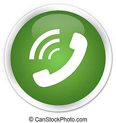 Phone ringing icon premium soft green round button