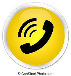 Phone ringing icon premium yellow round button
