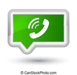 Phone ringing icon prime green banner button