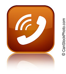Phone ringing icon special brown square button