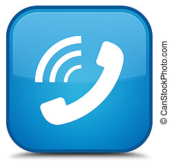 Phone ringing icon special cyan blue square button