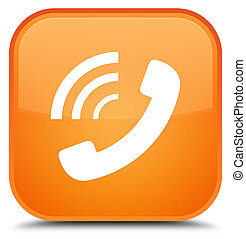 Phone ringing icon special orange square button