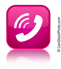 Phone ringing icon special pink square button