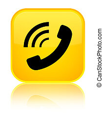 Phone ringing icon special yellow square button
