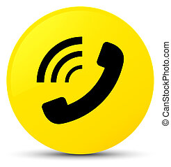 Phone ringing icon yellow round button