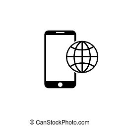Phone roaming icon in flat style. Roaming symbol for your web site design, logo, app, UI