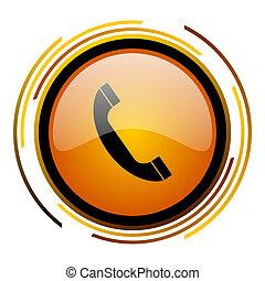 phone round design orange glossy web icon