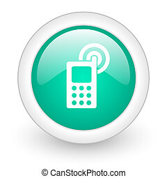 phone round glossy web icon on white background