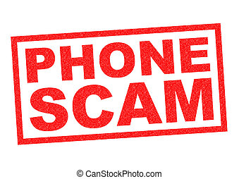 PHONE SCAM red Rubber Stamp over a white background.