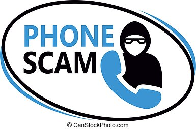 Phone scam sign on white background. Badges and stamps series.