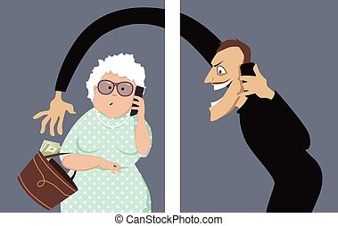 Phone scam targets seniors - Scammer talks on a phone with a...