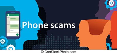 phone scam via smart-phone security fraud vector...