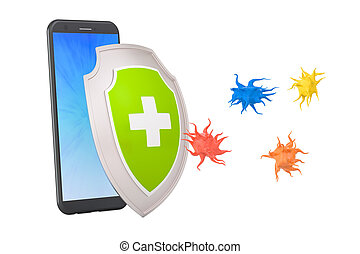 Phone security and antivirus protection concept, 3D rendering