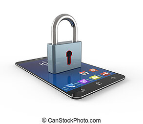 Phone security - Cell phone and padlock as concept