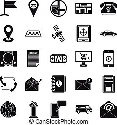 Phone service icons set, simple style