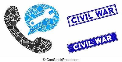 Phone Service Message Mosaic and Distress Rectangle Civil War Stamp Seals