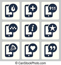 Phone services related vector icon set
