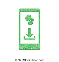 Phone settings. Download and install apps. Green scribble Icon with solid contour on white background. Illustration.