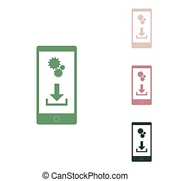 Phone settings. Download and install apps. Russian green icon with small jungle green, puce and desert sand ones on white background. Illustration.