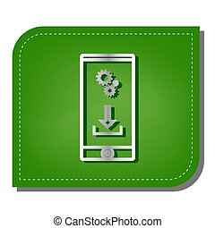 Phone settings. Download and install apps. Silver gradient line icon with dark green shadow at ecological patched green leaf. Illustration.