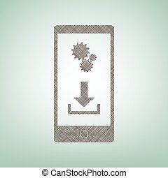Phone settings. Download and install apps. Vector. Brown flax icon on green background with light spot at the center.