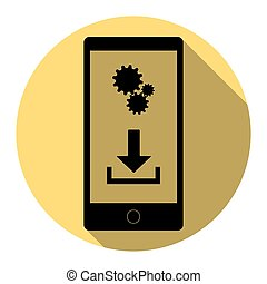 Phone settings. Download and install apps. Vector. Flat black icon with flat shadow on royal yellow circle with white background. Isolated.
