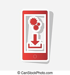 Phone settings. Download and install apps. Vector. New year reddish icon with outside stroke and gray shadow on light gray background.
