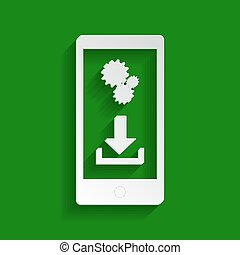 Phone settings. Download and install apps. Vector. Paper whitish icon with soft shadow on green background.