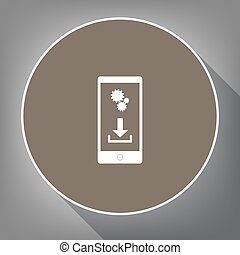 Phone settings. Download and install apps. Vector. White icon on brown circle with white contour and long shadow at gray background. Like top view on postament.