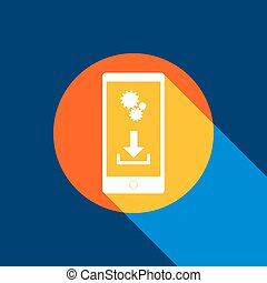 Phone settings. Download and install apps. Vector. White icon on tangelo circle with infinite shadow of light at cool black background. Selective yellow and bright navy blue are produced.