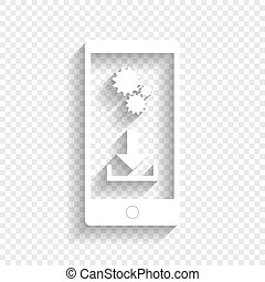 Phone settings. Download and install apps. Vector. White icon with soft shadow on transparent background.