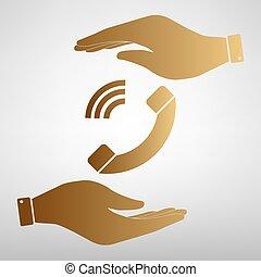 Phone sign Golden Effect.