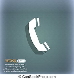Phone sign icon. Support symbol. Call center. On the blue-green abstract background with shadow and space for your text. Vector