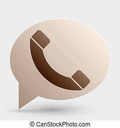 Phone sign illustration. Brown gradient icon on bubble with shadow.