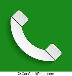 Phone sign illustration. Vector. Paper whitish icon with soft shadow on green background.