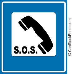 Phone sign on blue traffic sign
