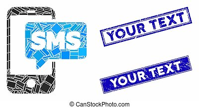 Phone SMS Mosaic and Distress Rectangle Your Text Stamp Seals