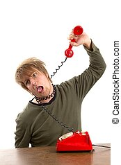 Phone - Man hanging himself with a phone cord