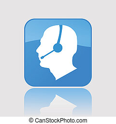 Phone Support Button, Vector Illustration