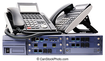 Phone switch system and digital telephones isolated on white