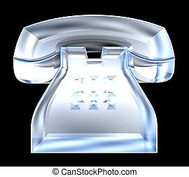 phone symbol in glass - 3D
