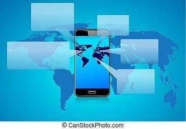 Phone Talk Speech Bubbles on a world background