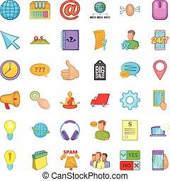 Phone talking icons set, cartoon style