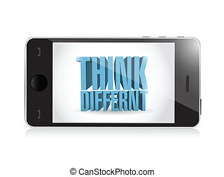 phone. think different 3d text illustration