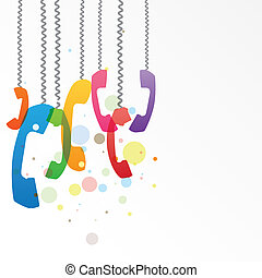 Phone Traffic - Illustration with hanging colorful phone ...