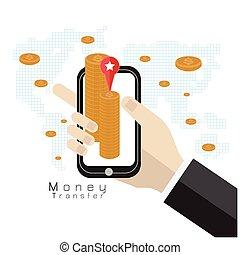 phone transfer money concept silver coins world vector