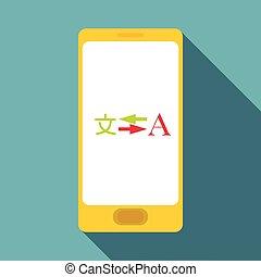 Phone translation icon, flat style